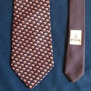 Thomas Pink men's tie, navy with pink elephants